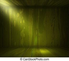trä, grön, spotlight, bakgrund, rum