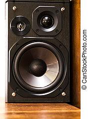 trä, högtalare, på, a, skrivbord