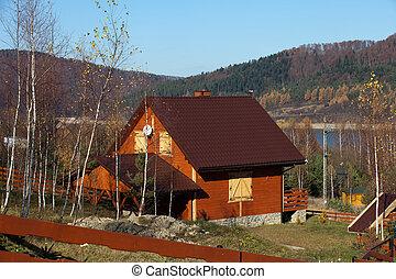 trä, höst, stuga, insjö, landskap