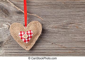 trä, hjärta, över, bakgrund