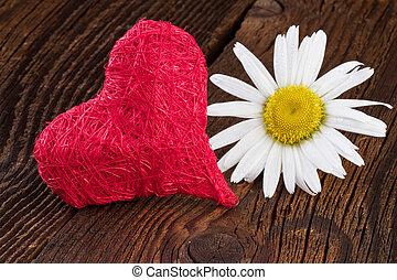 trä, hjärta, över, röd fond
