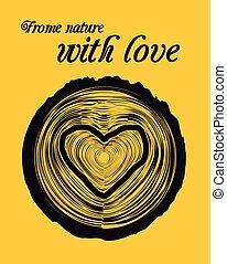 trä, hjärta, avdelning, kryss gestalta