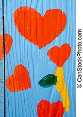 trä, hjärta, bakgrund, färgrik, röd