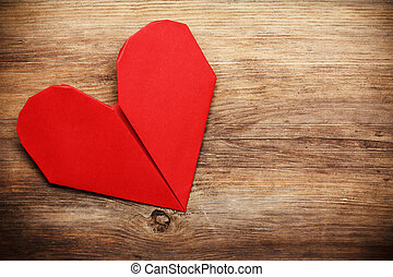 Trä, hjärta,  copy-space, bakgrund,  Origami