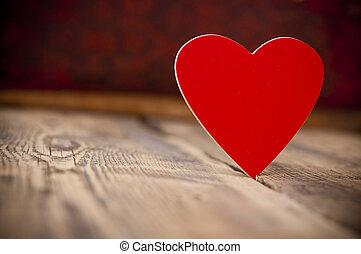 trä, hjärta, gammal, röd fond