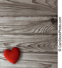 trä, hjärta, mörk, plankor, röd