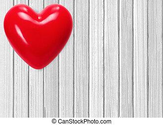 trä, hjärta, vit röd, bakgrund