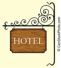 trä, hotell, dörr, underteckna