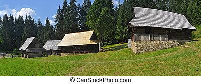 trä, hus, panorama