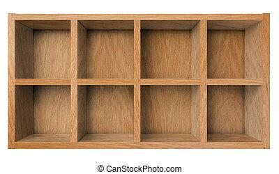 trä, hylla, isolerat, bokhylla, vit, eller, tom