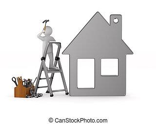 trä, isolerat, illustration, toolbox., repairman, 3