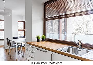 trä, kök, countertop
