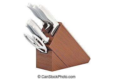 trä, kök, framförande, knivar, kvarter, 3