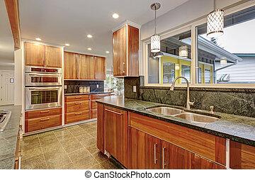 trä, kök, rum, cabinets., luxuös