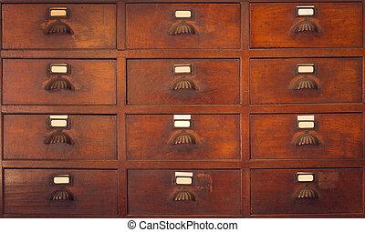 trä, kabinett, in, gammal, kinesisk, herbal, lager, årgång, färg, tone.