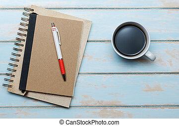 trä, kaffe, anteckningsbok, floor.