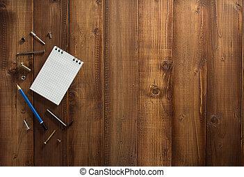 Trä, konstruktion, redskapen, bakgrund
