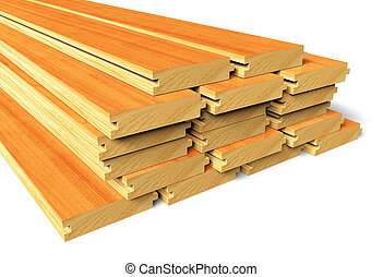 trä, konstruktion, stackat, plankor
