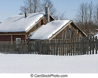 trä, land, vinter, hus