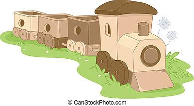 trä leksak, tåg