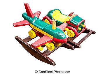 trä leksak, vita, bakgrund