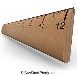 trä linjal, till mät, en, objekt, in, experimentera, eller,...