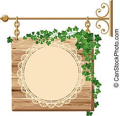 trä, murgröna, underteckna