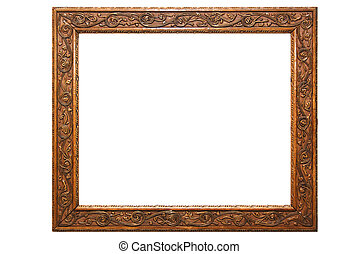 trä, ornamental, ram, bild