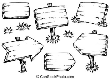 trä plankor, kollektion, teckningar