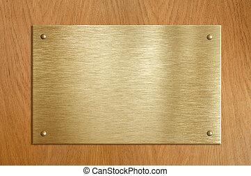 trä, platta, med, guld, eller, mässing, tallrik