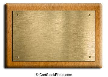 trä, platta, med, guld, eller, mässing, tallrik, isolerat,...