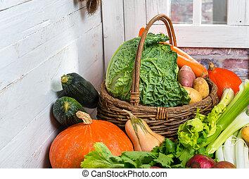 Trä, rå, grönsaken, korg, ombyte