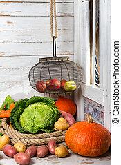 trä, råkall grönsaker, bord, ombyte