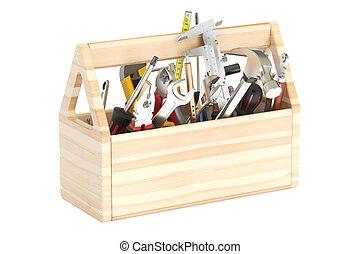 trä, redskapen, toolbox, 3, framförande