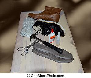 trä, reparera, redskapen, sko, bord
