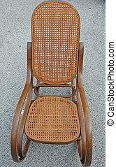trä, rocking stol, årgång, till salu, hos, loppmarknad