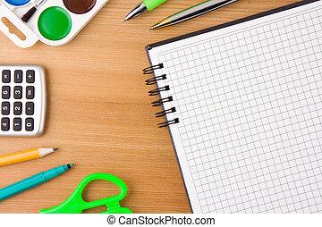 trä, skola, anteckningsbok, tillbehör, struktur