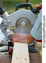 Trä, snickare, klippande, såga, planka, cirkulär