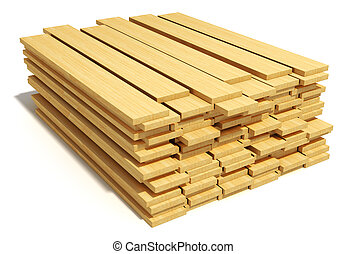 trä, stackat, plankor