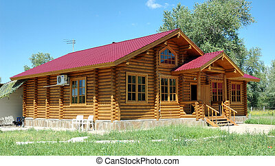 trä, stor, house.