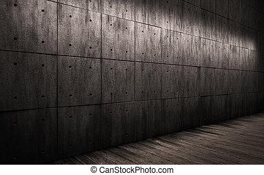 trä, stort, rum, däckar, mörk, bakgrund., konkret, grunge, ...
