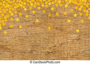 trä struktur, med, gyllene, stjärnor, närbild, bakgrund