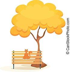 trä, tabby, träd, ingefära katt, höst, bench., under, vit, bänk