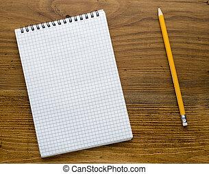 trä tabell, anteckningsbok, gammal, workspace