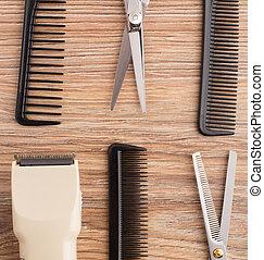 trä tabell, barberare, tillbehör