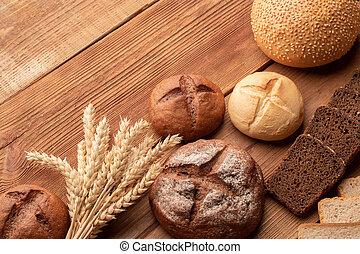 trä tabell, bread, vete, frisk