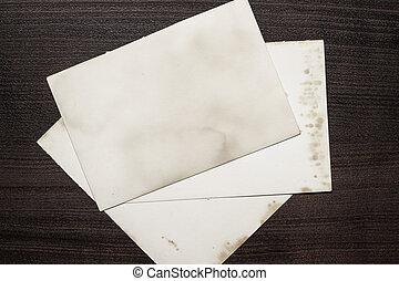 trä tabell, papper, gammal, ark