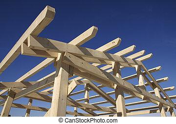 trä, tak, tidigt, konstruktion, under, stegen