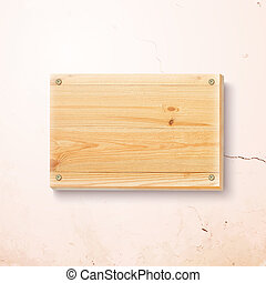 trä, tallrik, bakgrund., konkret