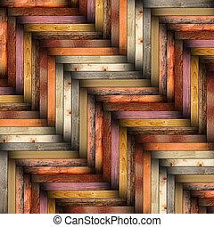 trä, tegelpanna, färgrik, golv